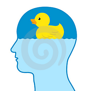 Male Human Thinking Of A Toy Rubber Duck Stock Photography - Image: 15603022