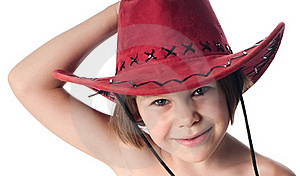 Beautiful Little Girl In A Red Hat Royalty Free Stock Photos - Image: 15603038