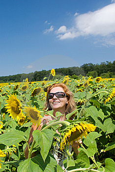 The Beautiful Woman In The Field Stock Images - Image: 15604694