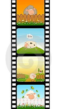 Blank Film Colorful Strip With Sheep Stock Photo - Image: 15607280