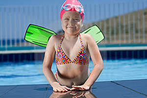 Little Child In Bathing Cap, Glasses, Fins Near Sw Royalty Free Stock Photos - Image: 15607578
