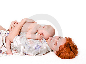 Baby Boy Lying On His Mother Stock Photos - Image: 15607653