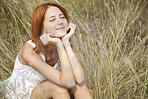 Beautiful Red-haired Girl At Grass Stock Photography - Image: 15607992