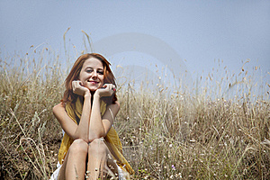 Beautiful Red-haired Girl At Grass Stock Photography - Image: 15608162