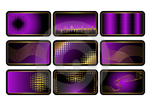 Set Of Purple Credit Cards. Vector. Royalty Free Stock Photo - Image: 15611915
