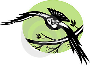 Raven Bird Flying With Branch Stock Images - Image: 15616184