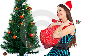 Girl Near Christmas Fir Tree Royalty Free Stock Photography - Image: 15616647