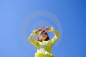 The Child Draws In The Sky Fingers Royalty Free Stock Photography - Image: 15616997