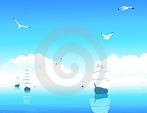 Ships In Blue Ocean Stock Photography - Image: 15625012