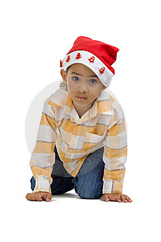 Boy With Santa Claus Hat Royalty Free Stock Photography - Image: 15628587