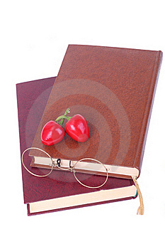 Old Books, Glasses And Chillies Isolated On White Royalty Free Stock Images - Image: 15630729