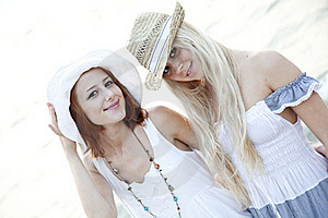 Two Beautiful Young Girlfriends On The Beach Stock Photo - Image: 15639490