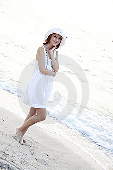 Beautiful Red-haired Girl In Hat On The Beach Stock Photo - Image: 15639550