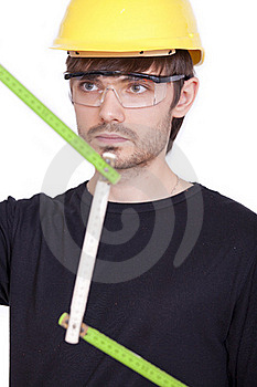 Worker With Folding Rule Stock Image - Image: 15640221