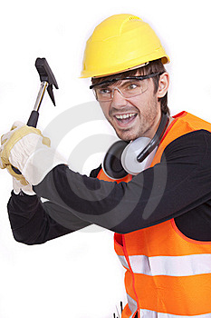 Angry Worker With Hammer Stock Photo - Image: 15640300