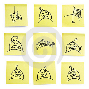 Yellow Sticky Papers Set With Halloween Doodles. Stock Image - Image: 15645471