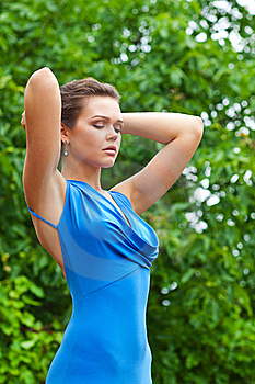 Pretty Woman In Blue Dress Royalty Free Stock Photos - Image: 15648248
