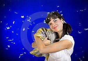 Woman Hugs The Pillow Stock Photos - Image: 15648263