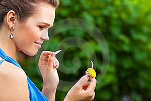 Lady With Camomile Stock Images - Image: 15648544