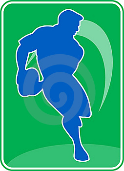 Rugby Player Running Passing Ball Royalty Free Stock Photography - Image: 15648757