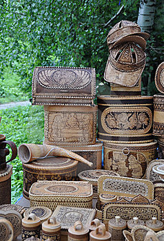 Souvenirs From Birch Bark. Royalty Free Stock Photos - Image: 15651378