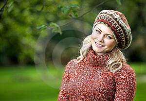 Beautiful Woman In Autumn Wood Royalty Free Stock Images - Image: 15651599