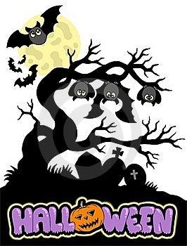 Halloween Cemetery Silhouette 1 Stock Image - Image: 15651661