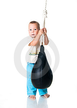 Little Boy With The Punching Bag Stock Photo - Image: 15663120