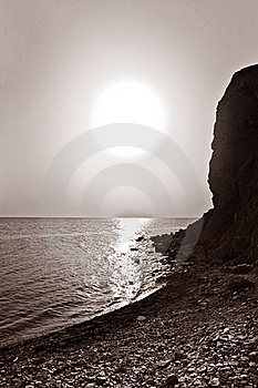 Vertical Monochrome Photo Of Beautiful Bay Stock Images - Image: 15663184