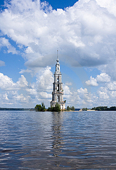 Belltower On River Volga, Kalyazin, Russia Royalty Free Stock Photography - Image: 15666577