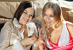 Faces Of Women With Glasses Of Wine Stock Image - Image: 15666781