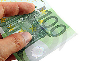 Hand Holding A 100 Euro Bill Stock Photo - Image: 15671570