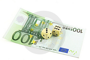 Two Dices And 100 Euro Royalty Free Stock Image - Image: 15671646