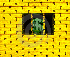 Dollar In Gold Cage Stock Image - Image: 15672691