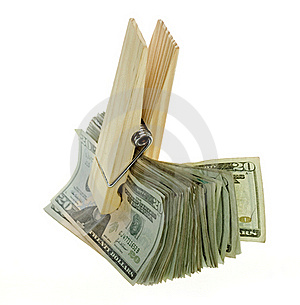 Oversized Paperclip Holding Twenty Dollar Bills Royalty Free Stock Photography - Image: 15672967