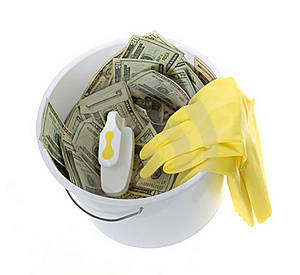 US Currency In Bucket, Scrub Brush, Gloves Stock Image - Image: 15672981
