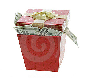Twenty Dollar Bills Coming Out Of A Red Gift Box Royalty Free Stock Photo - Image: 15673065
