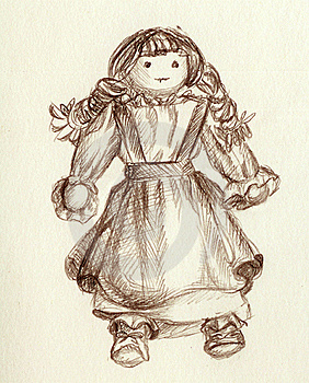 A Doll From Fabric Royalty Free Stock Images - Image: 15673289