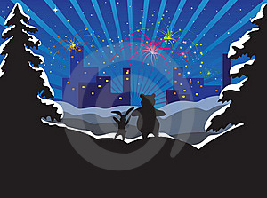Rabbit And Bear Looks At A City And Fireworks Royalty Free Stock Photography - Image: 15674907
