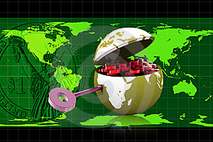 3d Globe And Key Stock Images - Image: 15676154