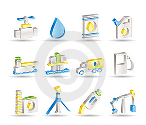 Oil And Petrol Industry Objects Icons Royalty Free Stock Photography - Image: 15678567