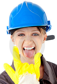 Girl Excitement Rock On Sign Stock Image - Image: 15679591