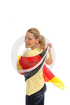 Blond Girl With A German Flag Stock Photos - Image: 15680593