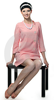 Retro Woman In Pink Dress 60s Stock Images - Image: 15688854