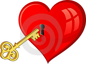 Golden Key Opens The Heart Stock Photos - Image: 15690173