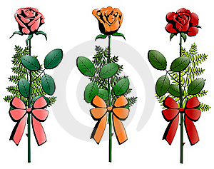 Three Small Bouquets Of Roses Decorated With Ribbo Stock Photography - Image: 15690212