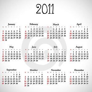 Simple Calendar Of 2011. Stock Photos - Image: 15692363