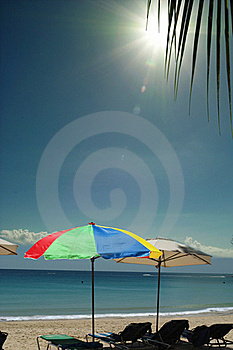 Colorful Umbrellas On Sunny Sea Beach. Royalty Free Stock Images - Image: 15698249