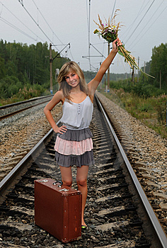 The Young Beautiful Girl At A Station Royalty Free Stock Image - Image: 15704126