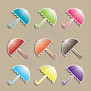Set Of Colorful Umbrellas. Stock Photo - Image: 15704660